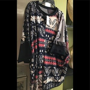 FREE PEOPLE tunic top with side fringes wonderful